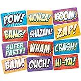 スーパーヒーロー パーティー 写真ブース 小道具 サイン 6ピース 両面 小道具セット BAM POW ZAP WHAM 小道具 サイン アクションコミックテーマ 誕生日用品