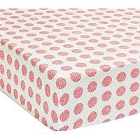 美しいGirlsホワイトレッドピンク花フィットベビーベッドシート、花柄テーマNursery寝具、幼児子幼児用ドットパターンペイズリーCoral Geometricかわいい愛らしい、コットン