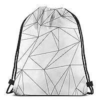 黒と白のライン幾何学的な巾着バックパックバッグユニセックスジム袋パックスポーツ文字列バッグクリスマスギフトビーチバッグ
