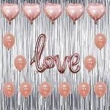 Happy Velatine's Day, Happy Birthday, Baby Shower, 1st Birthday Party ローズゴールドバルーン シルバーフリンジカーテン背景装飾パーティーパック