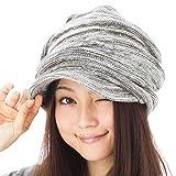 小顔効果 くしゅっとニットキャスケット 帽子 レディース 大きいサイズ 帽子 メンズ 秋冬 つば付き ニット つば長 つば広 耳あて代わりの防寒対策 【フリーサイズ(約57-63cm)-カーキホワイト】