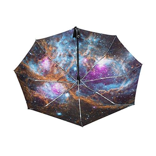マキク(MAKIKU) 折り畳み傘 自動開閉 軽量 ワンタッチ 日傘 晴雨兼用 uvカット 紫外線対策 頑丈な8本骨 耐風 撥水 グラスファイバー 収納ケース付 宇宙柄 星空 星柄 星雲