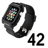 Apple Watch バンド N.ORANIE アップルウォッチ バンド バンドケース付き スポーツバンド 交換ベルト Apple Watch Series 2とApple Watch Series1に対応 耐衝撃 防汗 (42mm,ブラック)
