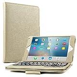 Boriyuan iPad mini4専用 Bluetoothキーボード付きカバー/キーボードケース iPad mini4ブラケット保護ケース  脱着式ワイヤレスキーボードケース良質PUレザーケース Bluetooth3.0搭載 キーボード分離可能 スタンド機能 保護フィルムとタッチペン付き (タブレット-ゴールド)