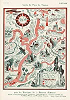 Historicマップ| Carte du Pays Du Tendre 1931| Historicアンティークヴィンテージマップ再印刷 24in x 17in 553268_2417