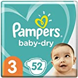 Pampers Baby-Dry Tape Diapers (6kg-10kg) Size 3 Crawler, 52 Count