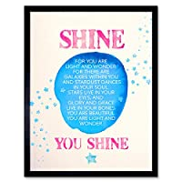 Quote Shine Stars Watercolour Art Print Framed Poster Wall Decor 12x16 inch 見積もり星水彩ポスター壁デコ