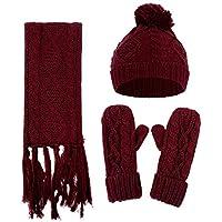 Coerni レディース スカーフ+ニット帽+手袋セット ソフトで暖かい Free Size レッド 465JK8N43