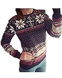 (ミネサム)Minesam レディース 雪柄 春秋 ブラウス 長袖シャツ ファッション プリントトップス 3様式が選択可能 ブラック S