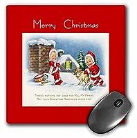 3drose LLC 8x 8x 0.25インチKids with Their Dog Friendship Verse Merryクリスマスマウスパッド( MP _ 26642_ 1)