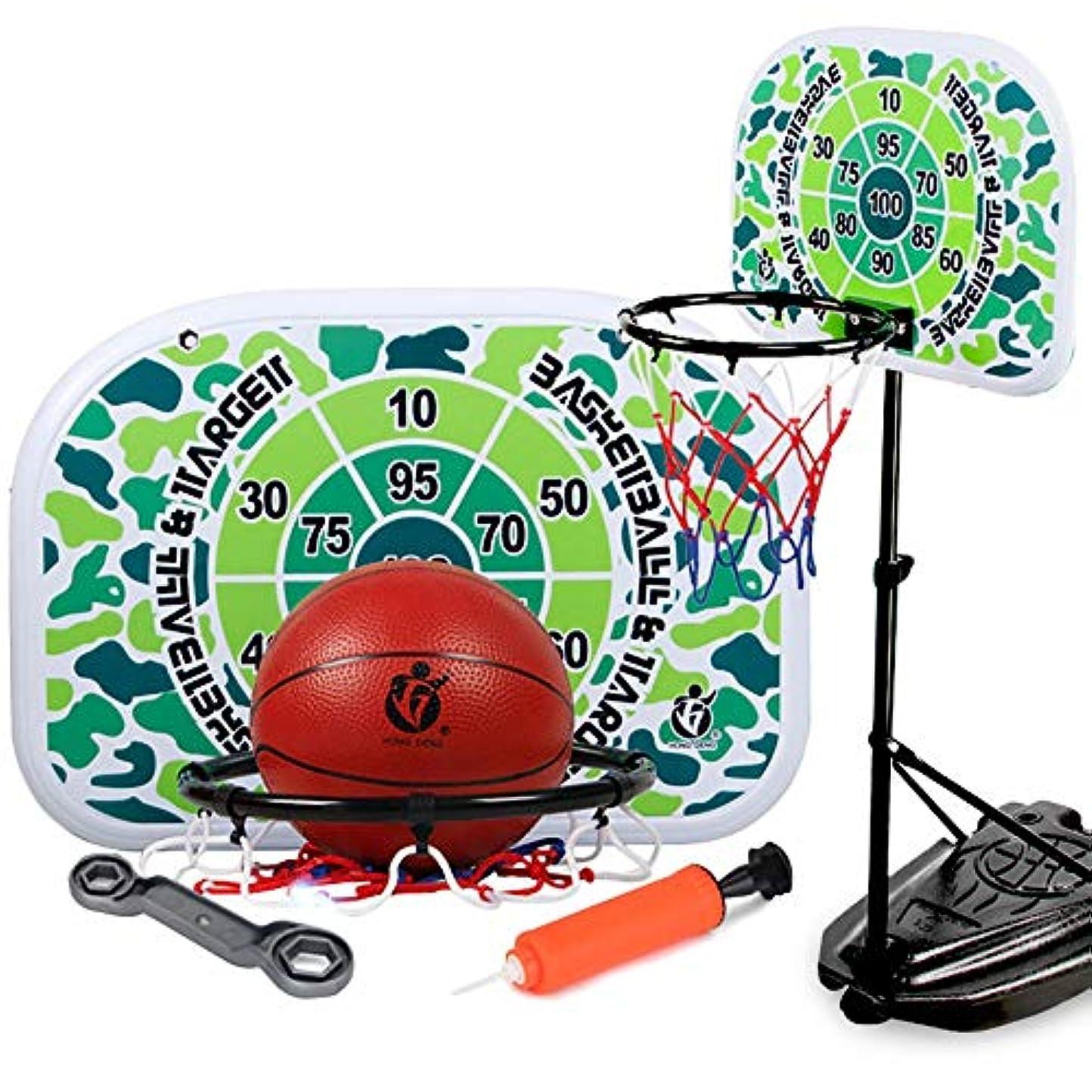 苦しむ膨らみヘリコプターバスケットゴール 子供用 キッズバスケットボールフープバスケットボールのおもちゃポータブル屋内屋外を再生する子供のためのセットのボールゲーム高さ調節スタンド ボール付き 室内 屋外用 (Color : Green, Size : 34x170cm)