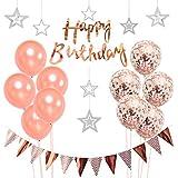 誕生日飾り付け ローズゴールド 星入りのガーランド 紙吹雪入れ ラテックスバルーン 三角 happy birthdayバナー シャンパンカラー 女の子 100日 1歳誕生日 ベビーシャワー飾り イベント部屋装飾