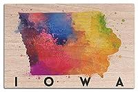 アイオワ州–状態抽象水彩 10 x 15 Wood Sign LANT-77132-10x15W