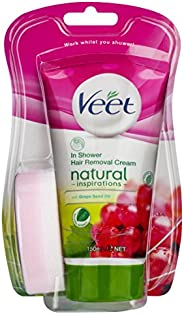 Veet Natural Inspirations Shower Cream Grape Seed Oil Hair Removal Cream, 150ml