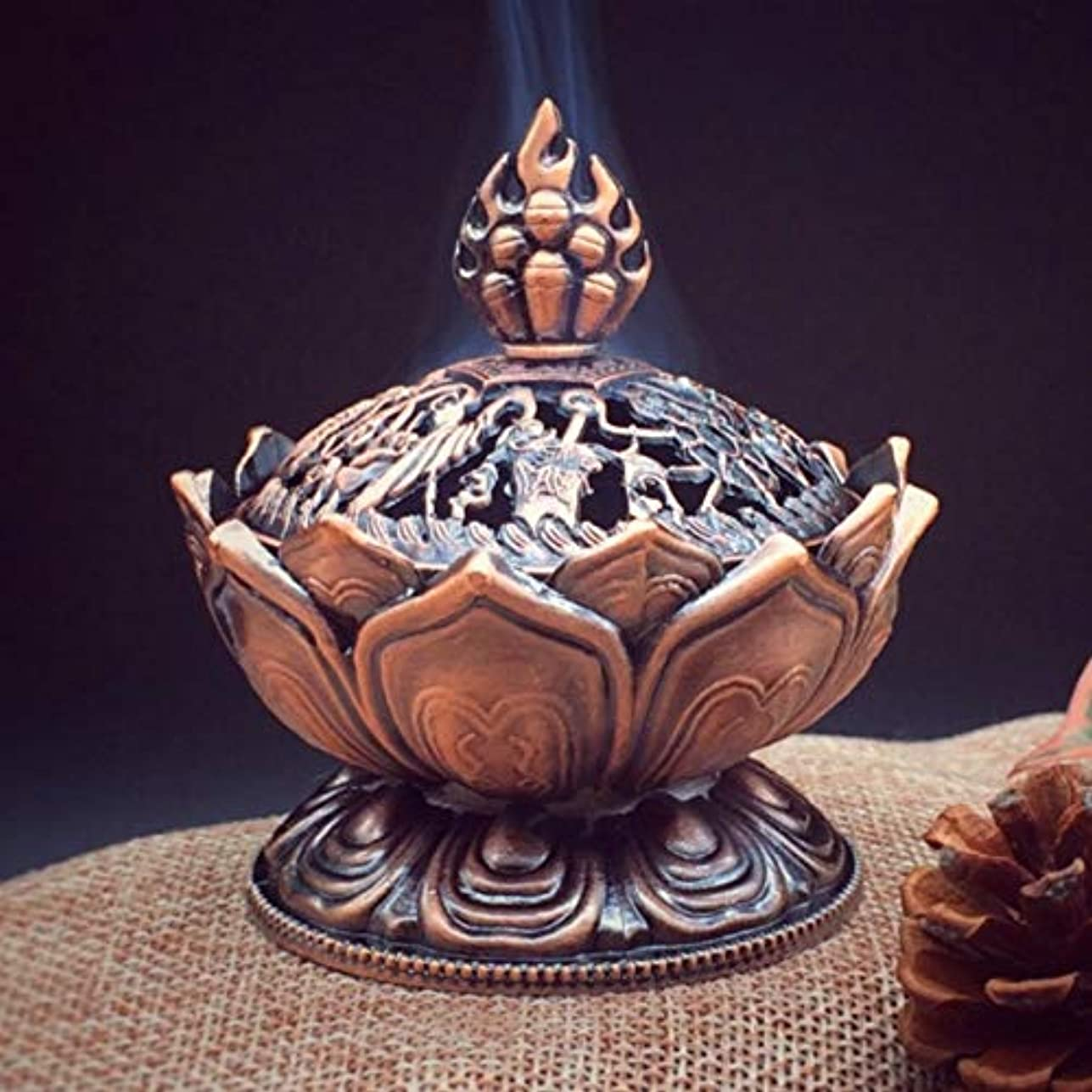 具体的に終点勉強するHoly Tibetan Lotus Designed Incense Burner Zinc Alloy Bronze Mini Incense Burner Incensory Metal Craft Home Decor