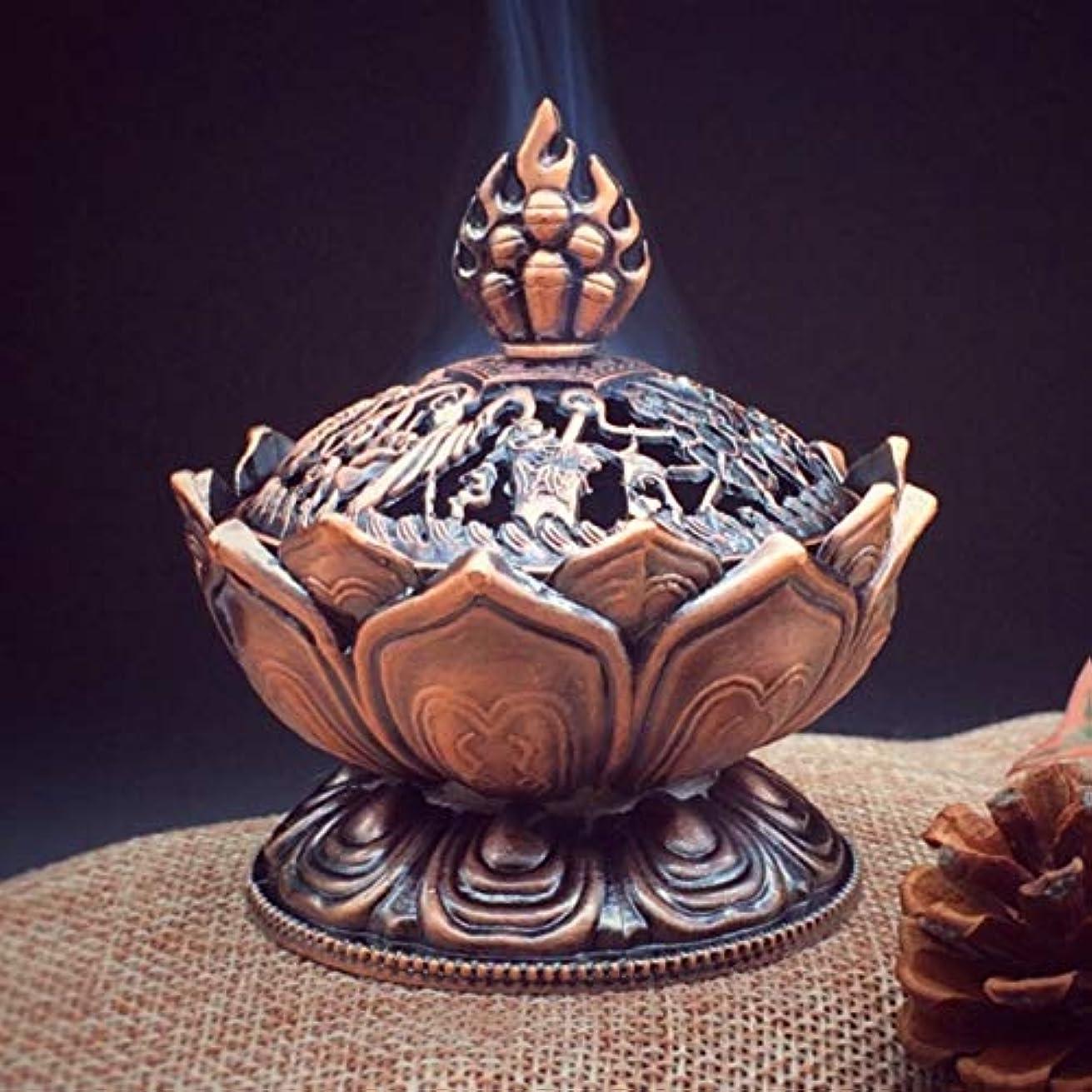 解釈的うなり声引っ張るHoly Tibetan Lotus Designed Incense Burner Zinc Alloy Bronze Mini Incense Burner Incensory Metal Craft Home Decor