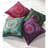 Indian Decorative Handmade Mirror Toss Pillow Cover Floral Pillow Case Decorative Sofa Boho Chic Bohemian Throw Pillow, Sequi