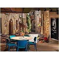 Mingld リビングルームの寝室の壁紙3D地中海ストリートフォト壁画バー家の装飾壁紙壁紙-350X250Cm
