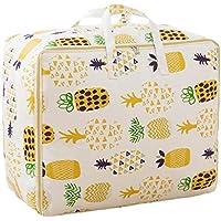 綿のリネンの収納袋パイナップルのパターン高品質のポータブル防湿トラベルオーガナイザー羽毛布団の掛け布団仕上げ荷物の収納袋 (サイズ さいず : 55 * 45 * 29cm)