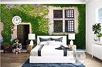 Bzbhart 3D壁紙シルク壁画植物つる窓絵画 壁壁画壁画壁紙用壁-250cmx175cm