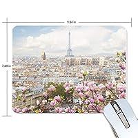 マウスパッド ロマンチック パリ ピンクの花 ゲーミングマウスパッド 滑り止め 19 X 25 厚い 耐久性に優れ おしゃれ