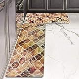 "Kitchen Rugs Mats LEEVAN Set of 2 Comfort Mat Kitchen Floor Mat Anti Fatigue Wipe Clean Non Slip Oil Stain Resistant (17"" X 2"