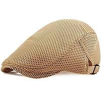 RICHTOER Men Breathable Mesh Summer Hat Newsboy Beret Ivy Cap Cabbie Flat Cap
