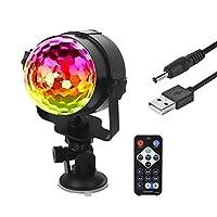 Eyourlife LEDミラーボールパーティーライト車ライト6W RGB LEDクリスタルマジックボール効果ライトDJライト自動回転 USB Disco Ball Strobe Light ブラック 460330