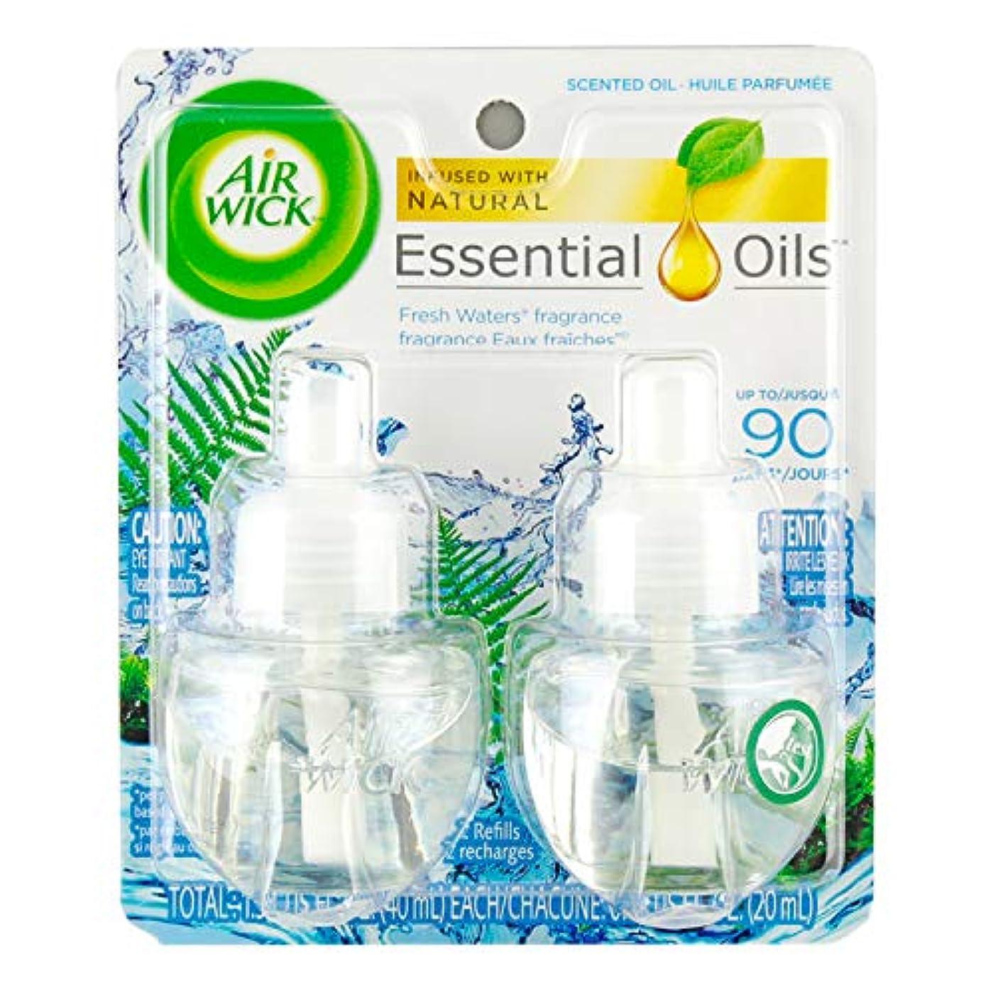 学習者さようなら守る【Air Wick/エアーウィック】 プラグインオイル詰替えリフィル(2個入り) フレッシュウォーター Air Wick Scented Oil Twin Refill Fresh Waters (2X.67) Oz....