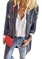 Keaac Women Plaid Woolen Trench Casual Winter Pea Coat Jacket 1 S