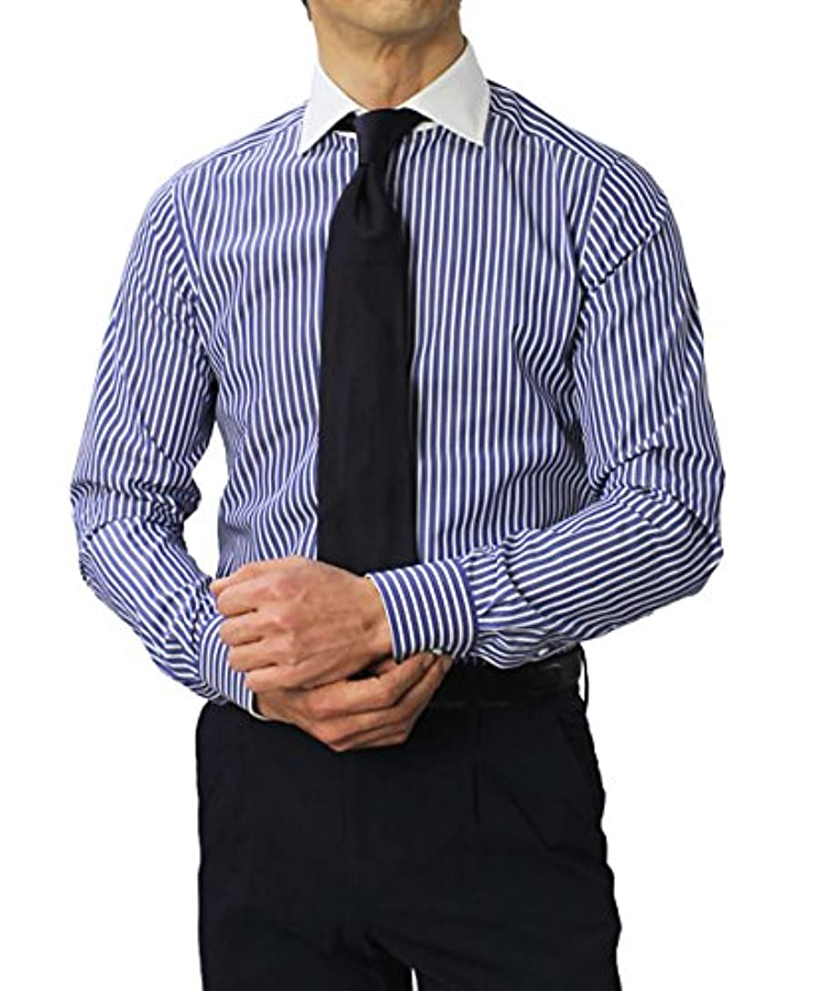 観客野球原子GUY ROVER コットン ストライプ セミワイド クレリック ドレス シャツ 37,ブルー [並行輸入品]