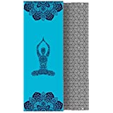 Whatsko Yoga Mat Towel,Non-slip,Extra-Thick,Extra-Wide,Ultra Absorbent,Hot/Bikram yoga sports fitness blanket printing towel,Free of PVC and Other Harmful Chemicals,Beautiful painting design (72in × 25in × 0.08in)