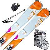 スキー5点セット ROSSIGNOL 16-17 TEMPTATION 75 160cm XPRESS W10 ブーツ24cm ストック105cm レディースグローブ ワクシング施工