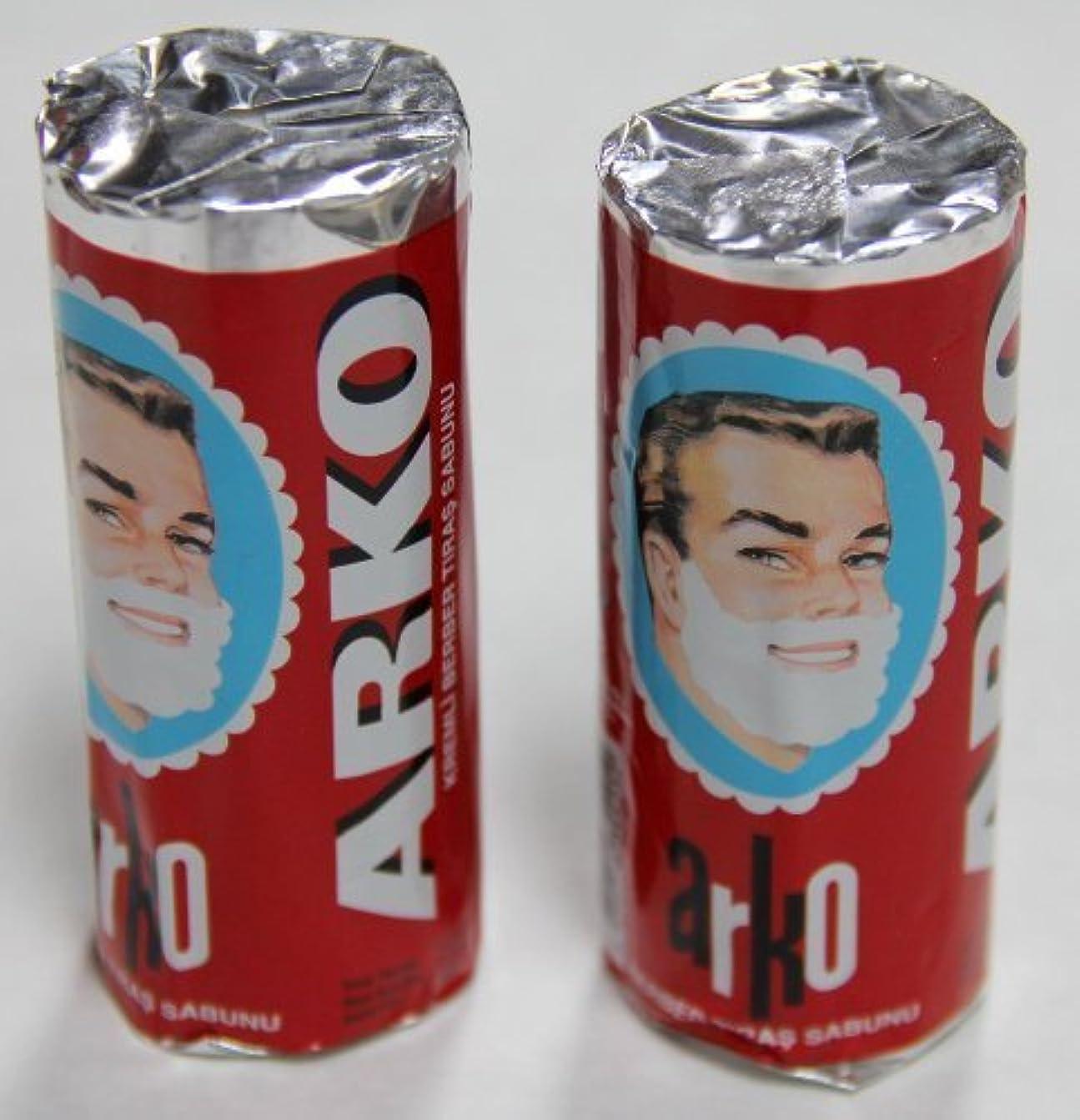寓話メンテナンスブランクArko Shaving Soap Stick White Pack of 2 75g each [並行輸入品]