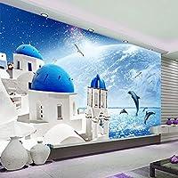 Xbwy 地中海シーサイドビュー城写真壁画壁紙ジャンピングイルカリビングルーム寝室の家の装飾3D壁の壁画-250X175Cm