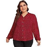 Milumia Women's Plus Blouses Polka Dot Print Frill Trim Work Casual Blouse Shirts Burgundy 0XL