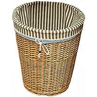 ポータブルラタンランドリーバスケット家庭用寝室汚れたハンパー服雑貨保管バスケット、42 * 32 * 48センチメートル (色 : ライトイエロー)