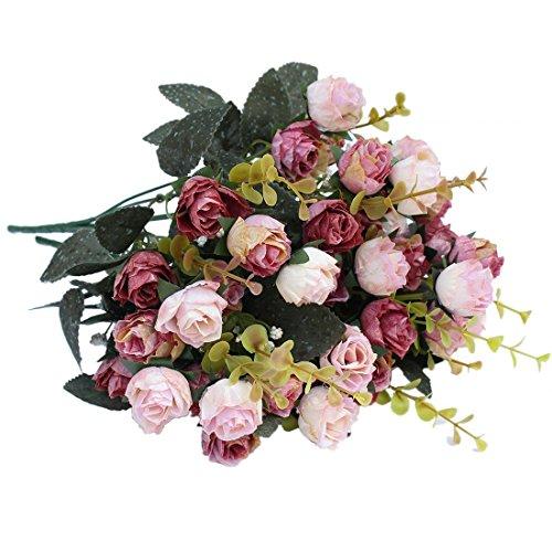Luyue 7本立ち フォークシミュレーションの花絹の布造花、結婚式のお祝いの装飾 2個セット
