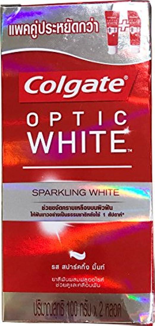 磨かれたオーバーランパートナー(コルゲート)Colgate 歯磨き粉 「オプティック ホワイト 」 (スパークリングホワイト) 2本セット