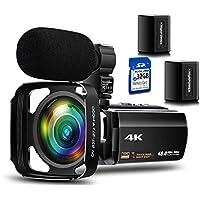 4K ビデオカメラ Besungo 充電式マイク 超広角レンズ レンズカバー 32G カード付け WIFI機能 60FPS 48MP HDR Youtubeで生放送 ビデオ通話 16倍デジタルズーム 赤外線夜視機能