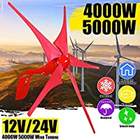 4000W / 5000W 12V / 24V風力タービン発電機5風力ブレード風車風力発電のために家庭街灯+コントローラーセット (Voltage : 12V 5000W)