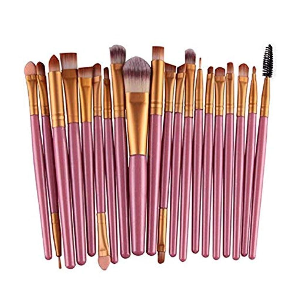 フラップピーク頭アイシャドウブラシセット20ピース化粧アイブラシアイシャドウブレンドブラシアイブロウアイライナーリップブラシ美容ブラシ、ギフトに最適 (Color : Pink)