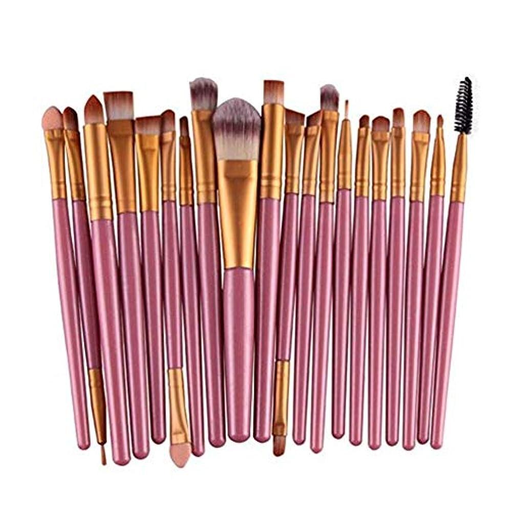 収束するゴールド間接的アイシャドウブラシセット20ピース化粧アイブラシアイシャドウブレンドブラシアイブロウアイライナーリップブラシ美容ブラシ、ギフトに最適 (Color : Pink)