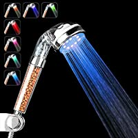 (7 Colors (Sequence Changing)) - LED Shower Head, High-Pressure Ionic Filter Handheld Shower with Energy Ball Filtration for Repair Dry Skin and Hair Loss (7 Colours (Sequence Changing))