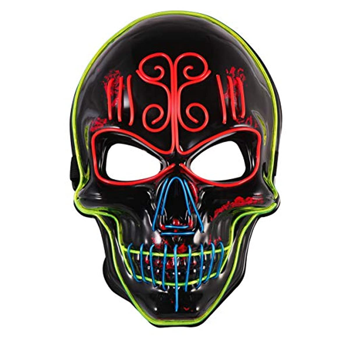 入口脚ほのめかすAmosfun ledライトマスク怖いスカルヘッドテロコスプレマスクヘッドカバー発光マスク用ファンシーパーティーハロウィンダンスパーティー