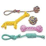 Focuspet 犬 猫 ペットおもちゃ 丈夫な犬噛む ロープのおもちゃ 5点のセット ぬいぐるみ 訓練ロープ 歯ぎしり 運動不足 ストレス解消