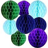 Happy Spring イベント パーティー 飾り 付け 店内 店舗 販促 陳列 ハニカムボール 10cm 15cm 青水色緑紫8個セット (F)