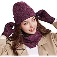 Knit Beanie Hat Scarf Touch Screen Gloves + Hat + Scarf,Unisex 3 PCS Set Winter Warm Set For Men Women Children