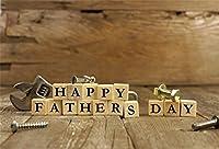 aofoto 6x 4ft Happy父の日バックドロップ木製ブロックのツールを素朴な木床写真背景Nostalgiaフォトスタジオ小道具Love Dad Man Papa祖父新しい両親Portrait壁紙