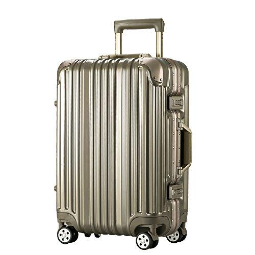 [トラベルハウス]Travelhouse スーツケース キャリーバッグ アルミフレーム スクラッチ仕上げ 超軽量 大容量 TSAロック  (L, ライトゴールド)